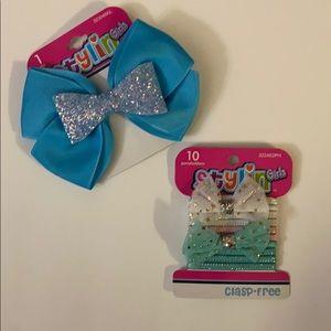 🍒BUNDLE SALE🍒 10 pony tail holders & 1 blue bow